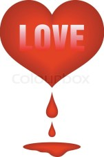 Stock vector of 'Red heart with drops of blood and pool under'
