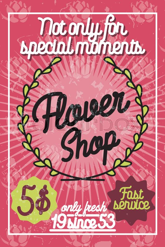 Color Vintage Flower Shop Poster Template Design Element For Business Related To Flowers