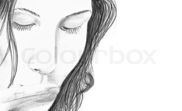 A pencil sketch of a young woman touching her fingers to