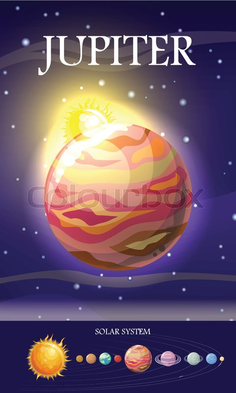 Jupiter planet Fifth planet from the Stock Vector