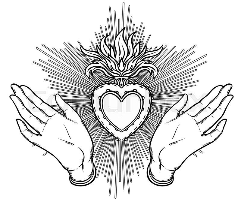 Female Open Hands Around Sacred Heart Of Jesus Hope Faith