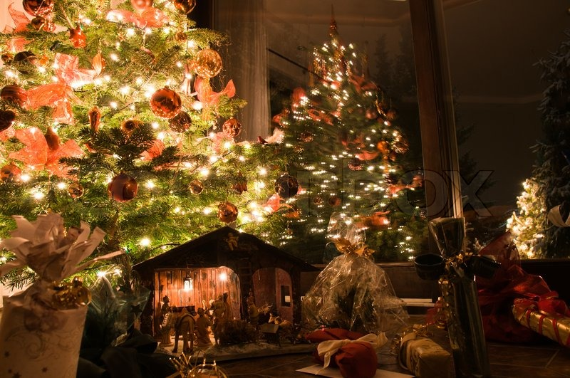 Beautiful Lit Christmas Tree With Presents Nativity Scene