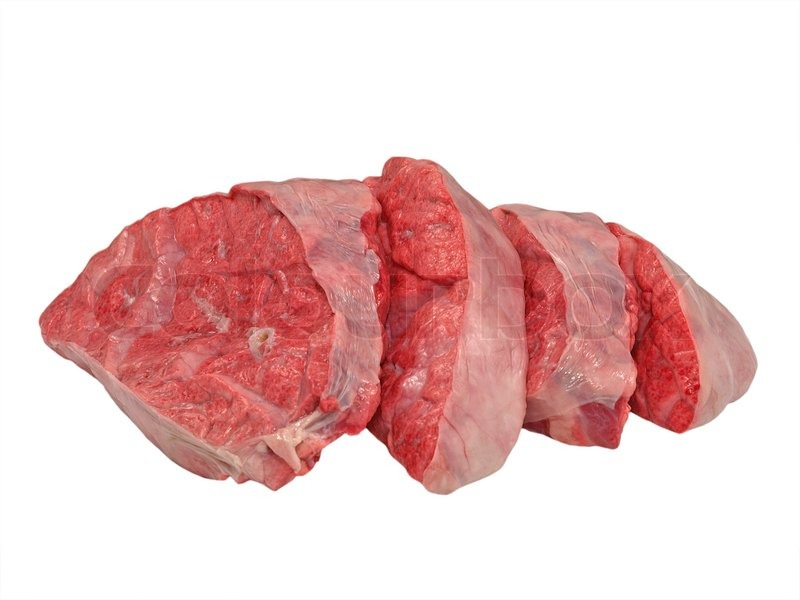 Sliced Cow Lung Isolated On A White Background Stock