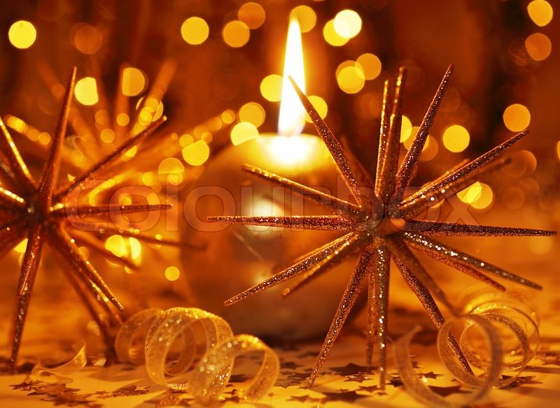 Golden Holiday Background With Candle And Christmas Tree