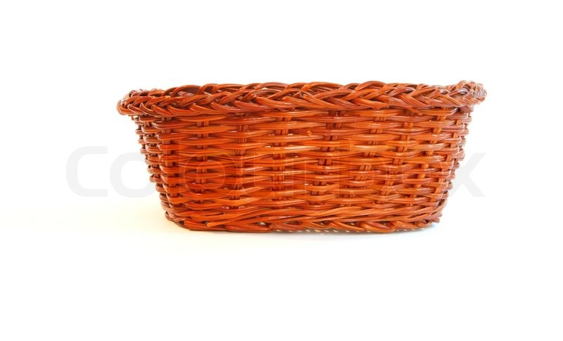 Orange Wicker Basket Without Handles Side View Isolated Stock Photo Colourbox