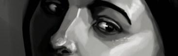 Iris Hopp - black white eyes subtitle banner