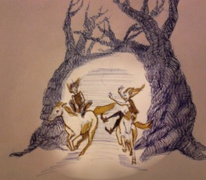 Iris Hopp - elves on horses drawing