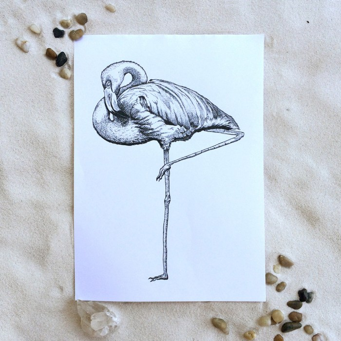 Colour Cult flamingo illustration by Tegan Swyny. Dot art using technical pens.