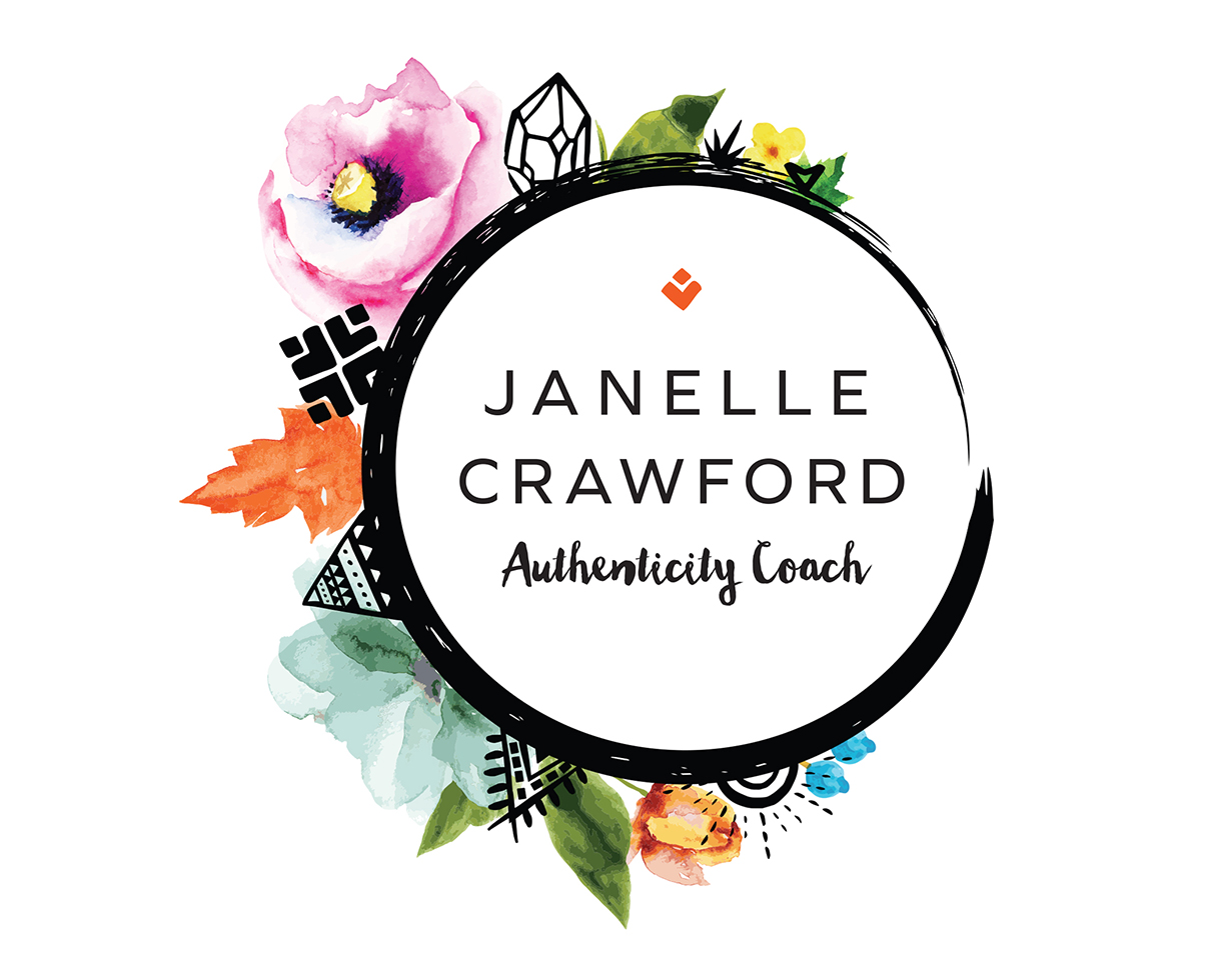 Janelle Crawford authenticity coach logo design by Tegan Swyny of Colour Cult. North Brisbane graphic designer.