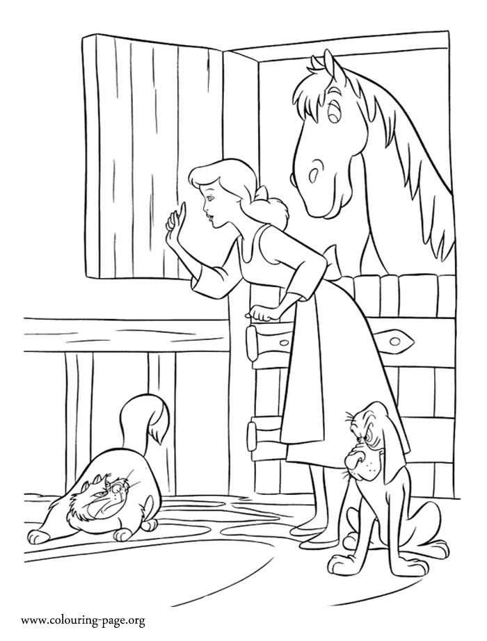 Cinderella Cinderella Protecting Her Friends Coloring Page