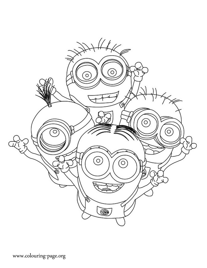Minions Dave Kevin Jerry And Phil Coloring Page
