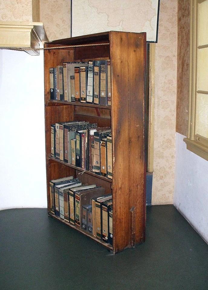 Bookshelf hiding the entrance