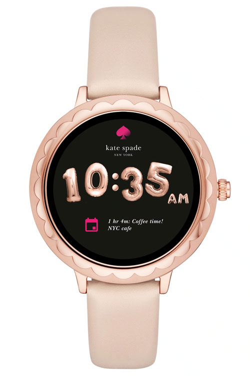 Kate Spade Rose Gold with Leather Band scallop touchscreen smartwatch
