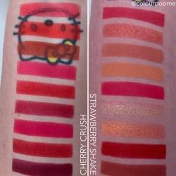 COLOURPOP Cherry Crush compared to Strawberry Shake palette