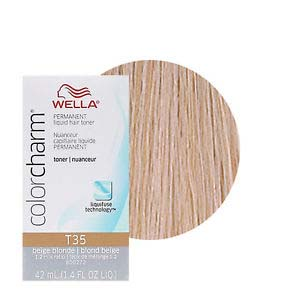 Wella Hair Color Charm Regal Beige is extra mild toner liquid creme haircolor. Gentle to hair and scalp. Tones Pre-Lightened Hair Evenly. Natural Blonde Shades. High-Fashion Blonde Shades.