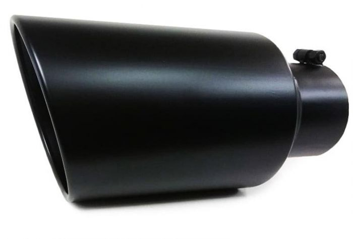 one black diesel stainless steel bolt on exhaust tip 4 inlet 8 outlet 18 long