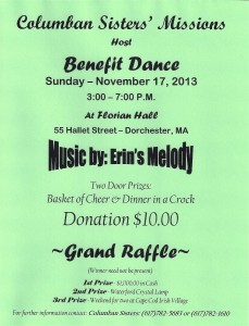 Columban Sisters' Boston (USA) Benefit Dance Nov 17 2013!