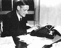 T. S. Eliot at his typewriter