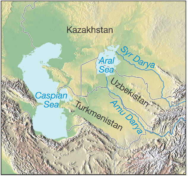 map of the aral sea