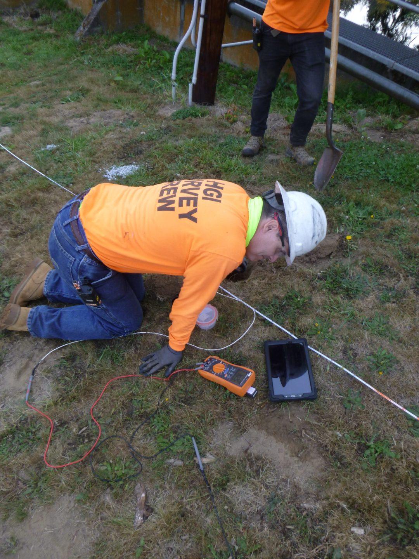 HGI team taking a voltage measurement