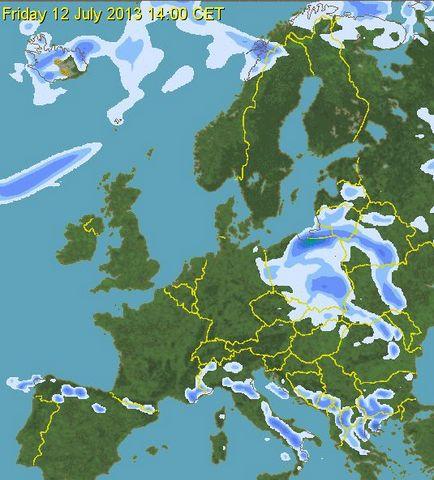prognoza precipitatii polonia 12 iulie ora 14