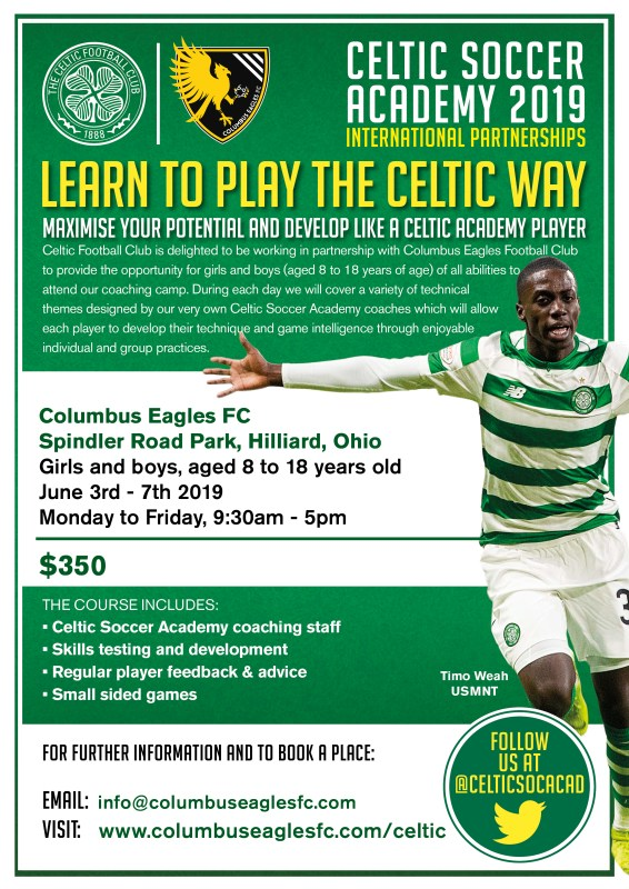 The Eagles and Celtic FC are holding a youth soccer camp from June 3-7, 2019 at Spindler Road Park in Hilliard, Ohio.