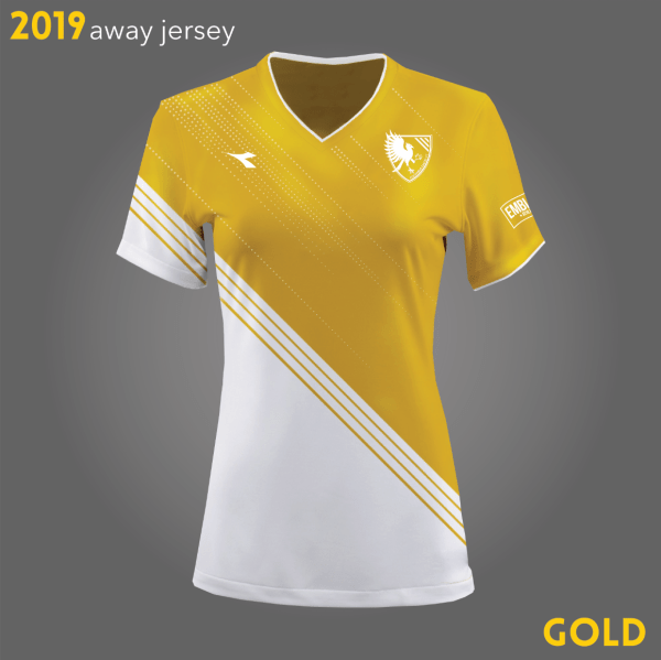 Columbus Eagles FC's gold and white kits for 2019 | Designs by Larissa Najjar