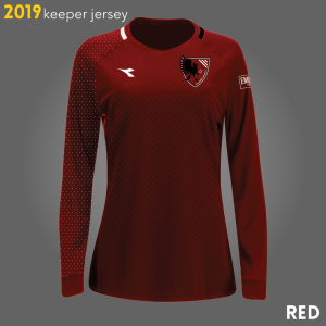 Columbus Eagles FC's red goalkeeper kits for 2019 | Designs by Larissa Najjar