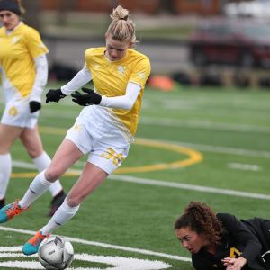 Eagles' forward Natalie Horner dribbles around a defender in the club's match against Ohio Dominican University on March 31, 2019 | Ken Tishenkel