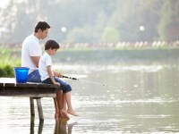 father's day gift Man and boy fishing on the lake