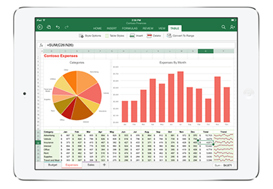 Image of Office 365 on iPad from Columbus UK.