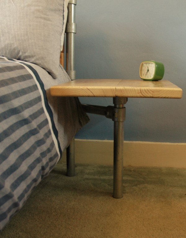 Modern Rustic bed side table reclaimed scaffold board and steel tube