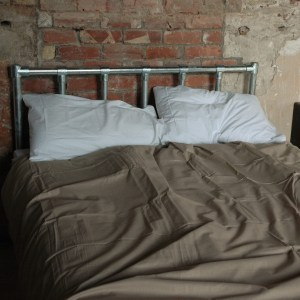 Modern industrial style all metal scaffold tube bed frame