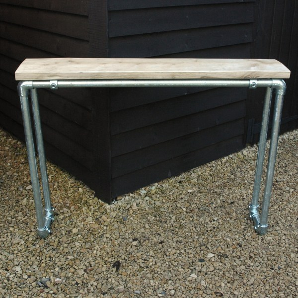 modern rustic industrial reclaimed scaffold board console table