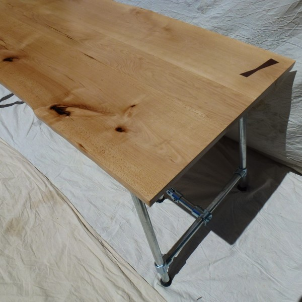 Les Alpes Trestle Dining Table / Desk with Beech Waney Edge Top