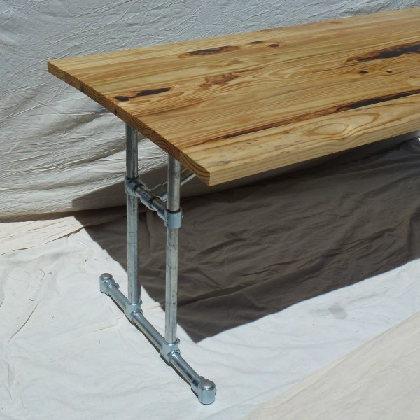 Reclaimed Wood and Industrial Steel Frame Dining Table