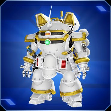 A lower-body shot of a white robot