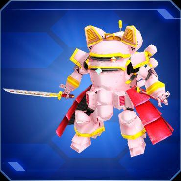 A pink robot holding a katana.