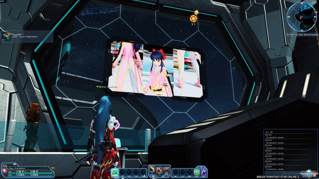 Rear shot of a woman in a red space suit, who is staring at a telescreen monitor.