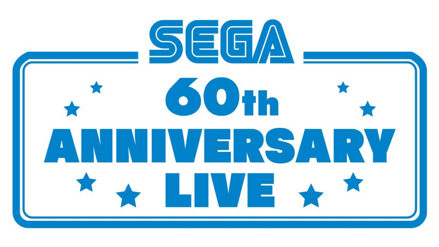 "The Sega logo, with ""60th Anniversary Live"" presented in blue text."