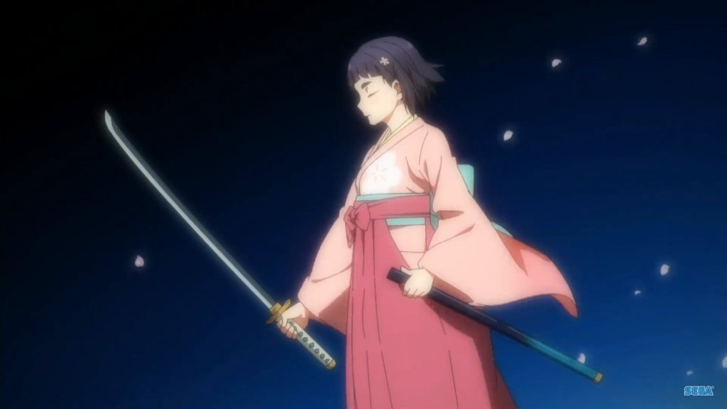 A young woman with short, dark hair, clad in a pink kimono and hakama focuses as she holds a sword.