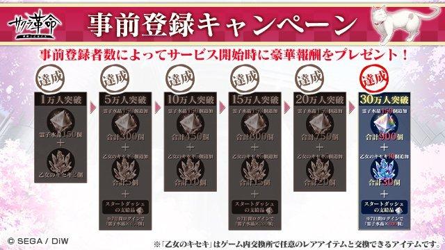 A visual that announces that Sakura Revolution crossed 300,000 pre-registrations.