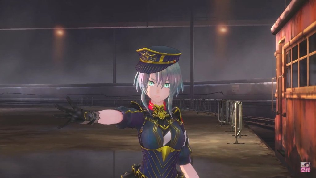 Still from Sakura Revolution, which features Prana Tosei - a blue-haired woman in a black military uniform.