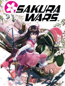 Key art for Sakura Wars 2019, which shows Sakura Amamiya holding her sword as she climbs into a Kobu.