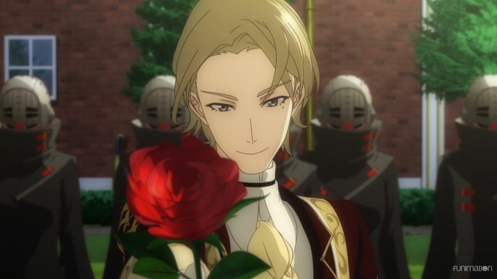 Sakura Wars the Animation still - Valery Kaminski smiles as he holds a rose out toward the camera.