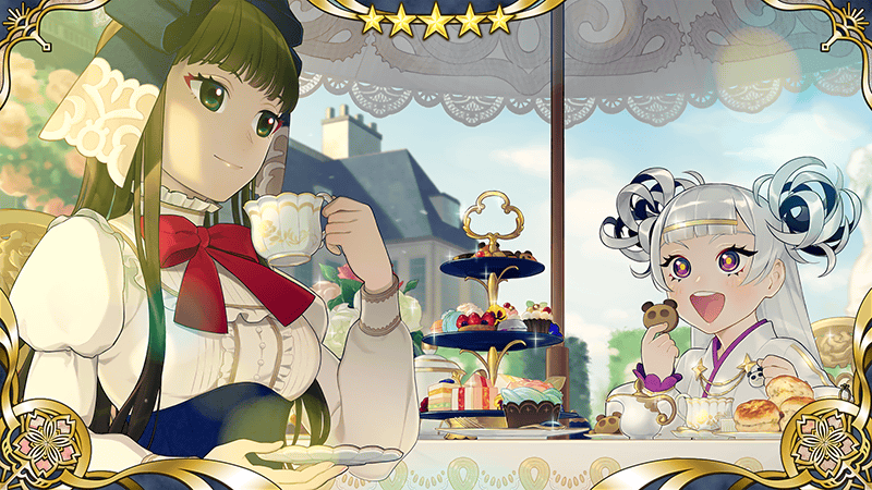 Sakura Revolution Spirit Emblem: Romantic Holiday - features Tenjin Himeka sitting at a breakfast table laden with treats as she sips tea.