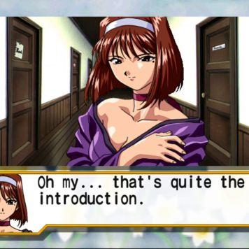 "Screenshot from Sakura Wars: Hanagumi Taisen Columns 2. Text: ""Oh my... that's quite the introduction."""