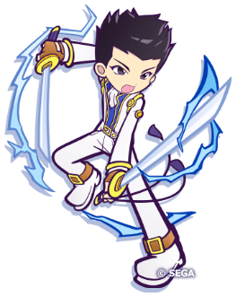 Cartoon drawing of a black haired man in a white suit, who is wielding two swords.