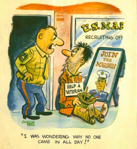 US Marine recruiting, cartoon
