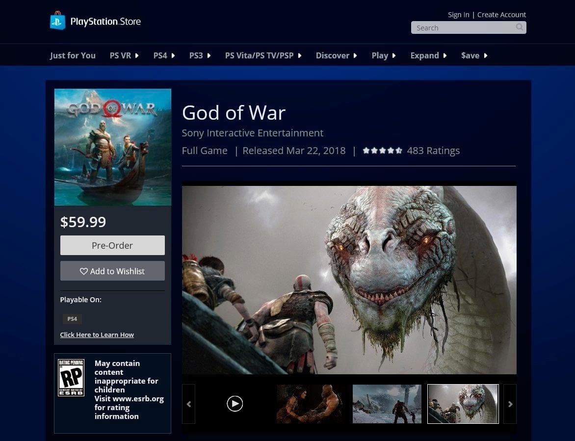 God Of War: Data de lançamento acaba de vazar na PSN
